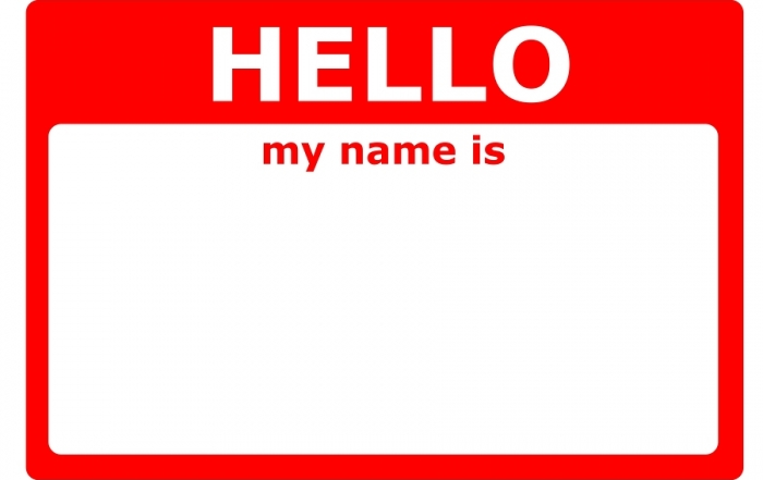 hello my name is sign with blank white copyspace for text message